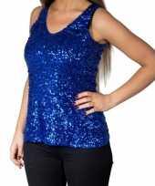 Glitter pailletten stretch hemdje topje blauw dames