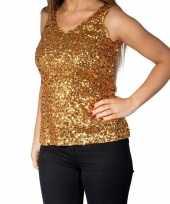 Glitter pailletten stretch hemdje topje goud dames