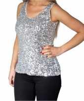 Glitter pailletten stretch hemdje topje zilver dames