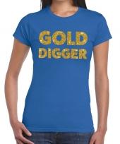 Gold digger fun t-shirt blauw voor dames