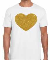Gouden hart fun t shirt wit voor heren