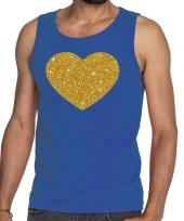 Gouden hart fun tanktop mouwloos shirt blauw voor heren