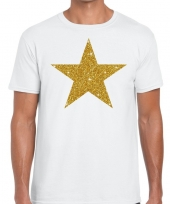 Gouden ster fun t shirt wit voor heren