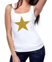 Gouden ster fun tanktop mouwloos shirt wit voor dames