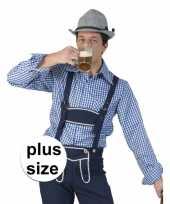 Grote maat blauw met wit geruit tiroler blouse voor heren