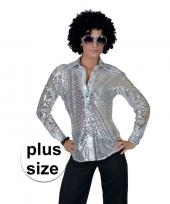 Grote maat zilveren disco seventies overhemd voor dames