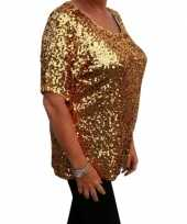 Grote maten glitter pailletten shirt goud dames xl 44 48