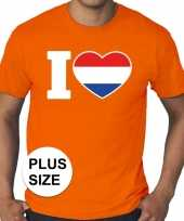 Grote maten i love holland shirt oranje heren