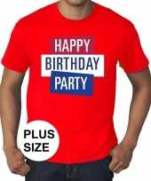 Grote maten officieel toppers in concert happy birthday party t-shirt rood heren