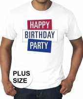 Grote maten officieel toppers in concert happy birthday party t-shirt wit heren
