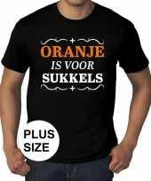 Grote maten zwart oranje is voor sukkels t-shirt heren