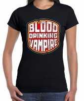 Halloween blood drinking vampire bloed drinkende vampier horror shirt zwart voor dames