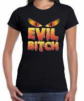 Halloween evil bitch horror shirt zwart voor dames