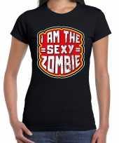 Halloween i am the sexy zombie horror shirt zwart voor dames
