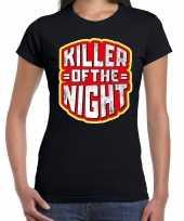 Halloween killer of the night horror shirt zwart voor dames