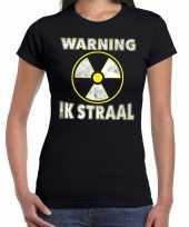 Halloween warning ik straal horror shirt zwart voor dames