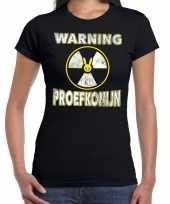 Halloween warning proefkonijn horror shirt zwart voor dames