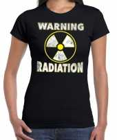 Halloween warning radiation horror shirt zwart voor dames