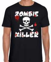 Halloween zombie killer shirt zwart heren met zombie killer bedrukking