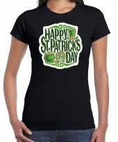 Happy st patricks day feest-shirt outfit zwart voor dames st patricksday