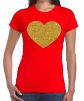 Hart goud fun t-shirt rood voor dames