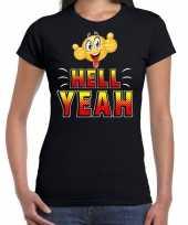 Hell yeah emoticon fun shirt dames zwart