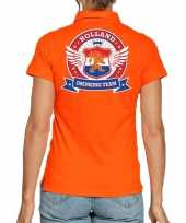 Holland drinking team polo t-shirt oranje met kroon voor dames