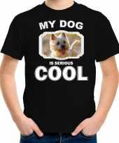 Honden liefhebber shirt cairn terrier my dog is serious cool zwart voor kinderen
