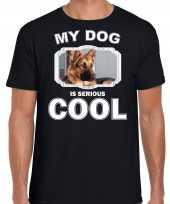 Honden liefhebber shirt duitse herder my dog is serious cool zwart voor heren