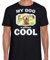 Honden liefhebber shirt golden retriever my dog is serious cool zwart voor heren