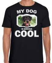 Honden liefhebber shirt rottweiler my dog is serious cool zwart voor heren