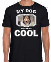 Honden liefhebber shirt sheltie my dog is serious cool zwart voor heren 10246375