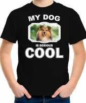 Honden liefhebber shirt sheltie my dog is serious cool zwart voor kinderen 10246469