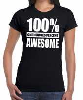 Honderd procent awesome t shirt zwart voor dames