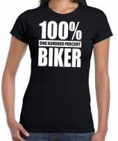 Honderd procent biker motorrijder t-shirt zwart voor dames