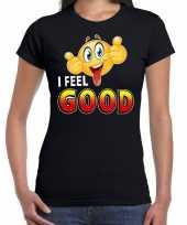 I feel good emoticon fun shirt dames zwart