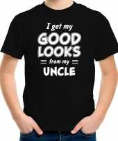 I get my good looks from my uncle kado shirt zwart voor kleuter kinderen
