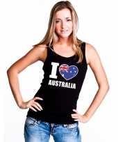I love australie supporter mouwloos shirt zwart dames