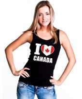 I love canada supporter mouwloos shirt zwart dames