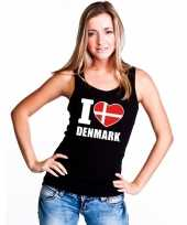 I love denemarken supporter mouwloos shirt zwart dames