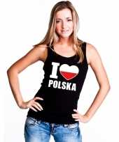 I love polen supporter mouwloos shirt zwart dames