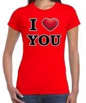 I love you cadeaushirt voor valentijnsdag rood voor dames