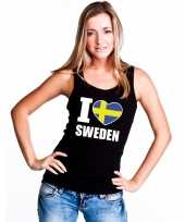 I love zweden supporter mouwloos shirt zwart dames