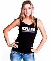 Ijsland supporter mouwloos shirt tanktop zwart dames