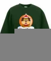 Kersttrui hond kerstbal groen voor jongens en meisjes