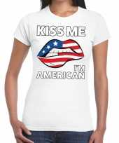 Kiss me i am american wit fun t-shirt voor dames
