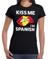 Kiss me i am spanish zwart fun t-shirt voor dames