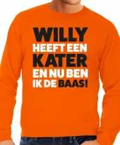 Koningsdag fun trui willy heeft een kater oranje heren