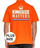Koningsdag kingsize matters polo t-shirt oranje met kroon voor heren