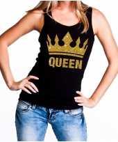 Koningsdag queen topje shirt zwart met gouden glitters dames